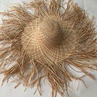 Lvtzj New Handmade Mulheres Palha Sun Hat Grande Brim Grande Gilrs Alta Qualidade Natural Raffia Panamá Panama Praia Palha Sun Caps para férias 210311