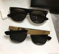 멋진 파일럿 선글라스 슈퍼 레트로 프란시스 플랫 탑 블랙 골드 그레이 렌즈 패션 태양 안경 케이스