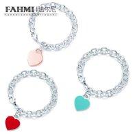 TIFF Bilezik Zararlı 925 Gümüş Charm Exquisite Kişilik Kadınlar Kalp Şeklinde Bilezik Retro Bayanlar Bilezik Hediye Ile Resmi Logo