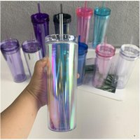 Mugs 19oz 20oz As Plastic Double Straw Acrylic Straight Cup Travel Coffee Skinny Tumbler With Transparent Milk Cold Drink