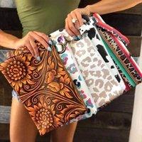 Fashion PU Leather Sunflower Cosmetic bag Clutch for Women Wristlet Buffalo Plaid Purse Zipper Boho Leopard makeup Bags Christmas Gift