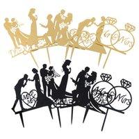 Gâteau de mariage Topper Bride Bride MRS Decorations de mariage Acrylique Black Gold Cake Toppers Mariage Parti Fournitures Adultes Favors Adulte