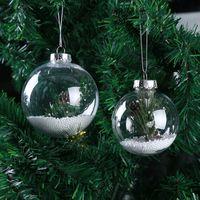 2021 Noel Temizle Topu DIY Hollow Şeffaf Topları Xmas Ağacı Asılı Sarkıt Festivali Süslemeleri Metal Kapaklı
