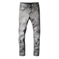 جديد وصول رجل مصمم جينز خمر أضعاف نمط نمط هول أزياء رجالي جينز سليم دراجة نارية السائق السببية رجل الهيب هوب السراويل