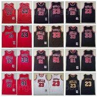Basketball rétro Mitchell Ness Dennis Rodman Jersey 91 Scottie Pippen 33 Michael 23 Vintage Team Rouge Blanc Stripe Black Stitch Bonne qualité