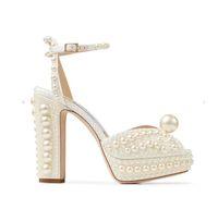 Bride sandal luxury designer shoes Women dress shoe sacora peep toe pumps wedding white pearl hollow words buckle female sandals with box