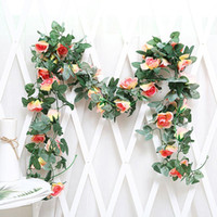 Garland String Fake Plants LeavesSilk Artificial Rose Vine Hanging Flowers For Wall Decoration Romantic Wedding Home Decorative & Wreaths