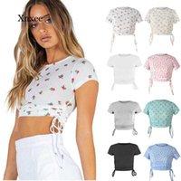 2021 mulheres cordiais cortadas topo verão de manga curta magro em volta do pescoço floral casual impressão sexy streetwear Tee tanque y0606