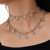 Love Necklace Butterfly Pendant Two Piece Set Necklaces For Women Jewelry Accessories Gift
