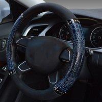 38 cm Universal Auto Interior Styling Auto Car CUBIERTE VÍCULO DE LA VÍCULA DE CUERO UNIVERSAL Patrón de cuero Cubierta de la rueda del automóvil azul