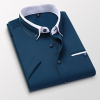 Men's Casual Shirts TFETTER Summer Business Shirt Men Short Sleeves Button Up Turn-down Collar Mens Clothing Plus Size 5XL