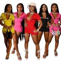 Kadın Eşofmanlar 2 İki Adet Set Şort Pantolon Işlemeli Mektup Fermuar Yoga Kıyafetler Bayanlar Jumusuits Spor Suit 836