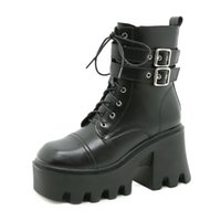 Boots Spring Autumn Fashion Women High Heels Platform Buckle Lace Up Leather Short Booties Black Ladies Shoes Promotion Girls