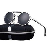 2021 New Trending Shad Duplo Bridg Vintage Rodada De Alumínio Quadro Sol Mulheres Mulheres Pollarized UV400 moda óculos de sol