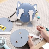 The Shy Hide Eyes Cat PU Parts Material Set for Handbag Phone Bag DIY 210304