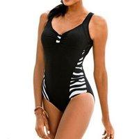 One-Piece Suits One Piece Swimsuit Striped Patchwork V Neck Sexy Push Up Padded Beachwear Sleeveless Bathing Suit Swimwear Women