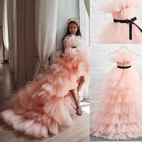 Girl's Dresses Lovely Pink Tiered Flower Girl Dress For Wedding High-Low Party Ball Gown Kid Birthday Princess First Communion Gowns