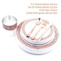 Nicro 150 pcs set Silver Rose Gold Cups Plastic Plates Fork Knives Spoons Disposable Clear Dinnerware Set 210909