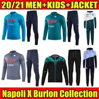 2021 2022 Jacke Napoli Fußball Trainingsanzug X Burlon Kollektion schwarz 20 21 SSC Neapel Maradona Voller Reißverschluss Trainingsanzug Set Veste Überleben