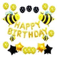 Parti Dekorasyon Bal Temalı Doğum Günü için Büyük Sarı Arı Balonlar Bebek Duş Malzemeleri Mutlu Alüminyum Folyo Dekor