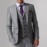 Men's Suits & Blazers Custom Gray Groom Suit Men Grey Tailor Made Tuxedo Jacket Slim Wedding Tuxedos 3 Piece