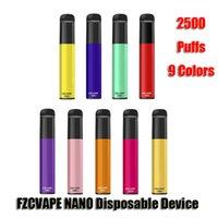Authentic FZCVAPE NANO Disposable E Cigarettes Device 2500 Puffs 1000mAh Battery 6ml Prefilled Pod Cartridge Vape Pen VS Bang XXL Ultra Genuine