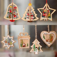 Christmas Decorations 2D 3D Ornament Wooden Hanging Pendants Star Xmas Tree Bell For Home Party Year Navidad 2021