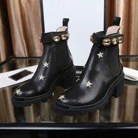 Diseñador de cuero clásico Desierto de Suela gruesa Botas Martin Martin Blanco Bee Star Trail Encaje-up Ladies High Heel Shoe Lace Bees High-Top Flat Ankl E Boot's Boot