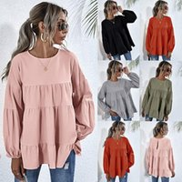Women's Hoodies & Sweatshirts Women Tops Long Sleeve O Neck Lantern Shirts Elegant Lady Casual Work Wear Blouses Blusas Plus Size#0921