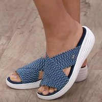 Slippers 2021 Summer Sandals Fashion Thick Bottom Slope With Fish Mouth Women Flying Cross Sandal High Quality Couple