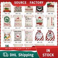 Christmas Gift Bag Sack Drawstring Festive Santa Claus Cotton Storage Partys Supplies Candy Bags Kids Toy Party Decoration Elk Canvas Large Organic Heavy Canvas-bag