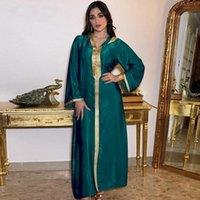 Abbigliamento etnico Ramadan Eid musulmano Abaya Abaya Abito con cappuccio per le donne Champagne Bianco Modest Arabo Oman Marocchino Caftan Robe 2021 Turco islamico