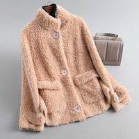 Women's Fur & Faux 2021 Autumn Winter Women Wool Real Coats Female Thick Warm Elegant Jacket Lady Loose Long Sheep Shearing Outerwear O156