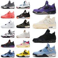 Com Box Nike Air Jordan Retro 4 OFF White Sail Jumpman Jordans aj 4s IV Travis Scott  Mens Womens Basketball Shoes Cactus Jack Fora dos Homens Mulheres Sneakers Treinadores