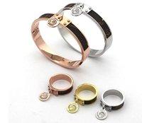 18 design mix 18K Rose Gold silver black Cuff Bangles Bracelet rings Titanium Steel women men Bangle Classic wedding Bracelets Fine Jewelry sets wholesale