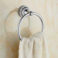 크롬 세련 된 도자기 수건 반지 스테인레스 스틸 수건 홀더 벽 마운트 욕실 액세서리 실버 타월 선반