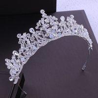 Handgemachte Strassperlen Bridal Tiara Krone Silber Farbe Kristall Diadem Schleier Tiaras Hochzeit Haarschmuck Kopfbedeckungen