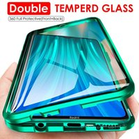 360 Full Cover Metal Double Side Tempered Glass Flip Phone Case For Xiomi Redmi Note 8Pro 9SE Mi10 K30 Magnetic Adsorption Glass Phone Case