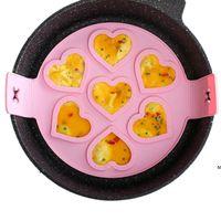 DIY Heart Omelette Outils Silicone Seven-Trou Flip Pancake Petit-déjeuner Maker NO Stick Moule Tool Tool Cuisson Accessoires HWWE6686