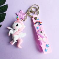 أزياء الإبداع rainbow يونيكورن المطاط مفتاح حلقة دمية قلادة لطيف الفتيان والبنات حقيبة صغيرة قلادة هدية