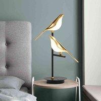 The led postmodern electroplating golden bird garden reading desk bedroom study living room floor lamp