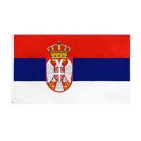 оптом заводская цена 100% полиэстер 90 * 150см 3x5 FTS SRB RS RSBLIKA SRBIJA Сербия Флаг для украшения OOD5717
