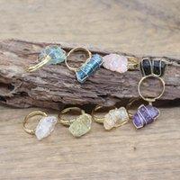 Cluster anéis ouro cor wrap wrap irregular stone crua ajustável anel cura cristal fluorite amethysts citrinos moda jóias, QC4027