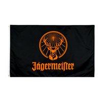 Fabrik Direkter Großhandel doppelt genäht 3x5FTs 90 * 150cm Black Jagermeister Flagge Leben Flagge für Dekoration GWB5967