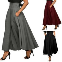 Skirts Womens Vintage High Waist Pleated Solid Color Stretch Plain Skater Flared Long Skirt Autumn Women