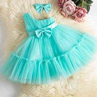 Klasik Bebek Kız Elbise Toddler Yenidoğan 1st Doğum Günü Elbisesi Bebek Vaftiz Prenses Elbise Bebek Kolsuz Tutu Parti Vestidos 0-24 M