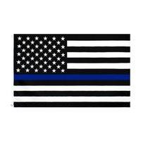 Blue Line Flag Direct Factory Atacado 3x5fts 90cmx150cm Diretores de aplicação da lei EUA EUA Polícia Americana Fina Linha Verde Flag Ood5643