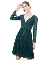 Short Bridesmaid Dress for Women  Teens, Long Sleeve V Neckline Hi-Lo Chiffon Simple Wedding Party Gowns with Belt
