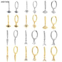 Dangle Earrings Andywen 925 Sterling Silver Multi Hoops Crystal Thin Huggies with Charms Loops Circle Jewelry for Womens