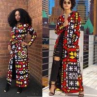 Moda Rahat Baskılı Uzun Coat (Kemer Dahil) Bayanlar Palto ve Ceketler Cep Afrika Baskı Ceket CN (Origin) Kadınlar